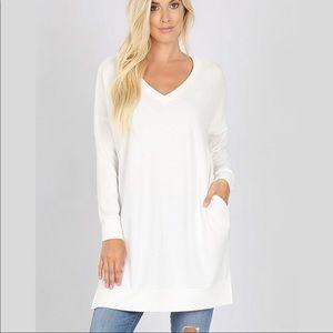 Zenana Cozy Ivory Tunic Sweater Pockets V-neck